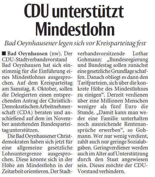 CDU Stadtverband Bad Oeynhausen - CDU unterstützt Mindestlohn